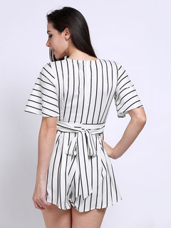 Women Sexy V-neck Striped Short Sleeve Jumpsuit