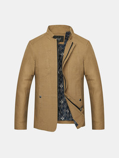 Plus Size S-5XL Solid Color Stand Collar Business Casual Fall Winter Jackets for Men