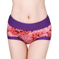 Comfy Soft Середина талии Трусы Цветочные печати дышащий хлопок нижнее белье для женщин
