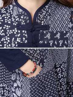 Chinese Style Vintage Printed Stand Collar Button A-Line Dress For Women