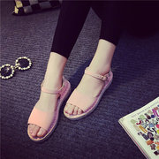 Candy Color Buckle Korean Style Peep Casual Toe Flat Sandals