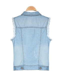 Casual Water Wash Denim Vest Outerwear Jeans Vest