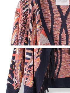 Loose Colorful Tassel Retro Hem Knit Cardigan Sweater