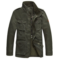 AFS JEEP Plus Size Mens Casual Business Outdoor Military Style Cotton Multi Pockets Jacket