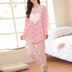 Cosy Round Neck Heart Printing Nightwear Sets Long Sleeve Pajamas For Women