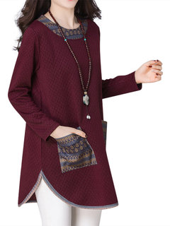 Casual Printed Patchwork O-Neck Long Sleeve Blouse For Women