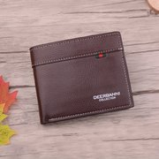 Horizontal PU Leather Wallet Change Purse Card Holder Ticket Holder For Man