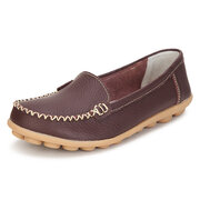 Casual Leather Pure Color Soft Sole Slip On Flat Loafers
