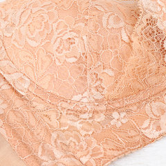 B-F Cup Comfort Silk Wire Free No Padding Thin Brassiere Floral Lace Gather Breathable Bras