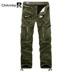 ChArmkpR Mens Plus Size Thick Trousers Winter Polar Fleece Lined Cargo Loose Fit Pants