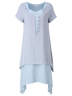 Women Short Sleeve Fake Two Pieces Pure Color Vintage Dress