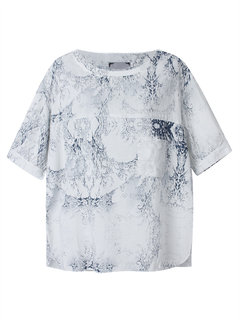 Women Short Sleeve Blue And White Porcelain Printed Casual  Shirt