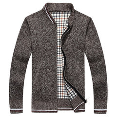Mens Sweater Warm Thick Zipper Solid Color Stand Collar Casual Cardigans