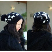 Big Ball Christmas Star Printed Wool Knitted Winter Hat