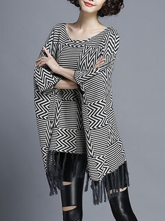 Fashion Loose Batwing Sleeve Striped Tassels Hem Pullover Blouse For Women
