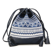 Women Vintage National Style Tassel Bucket Shoulder Bag