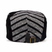 Men Women Vintage Flat Beret Cap Knitted Wool Patchwork Striped Newsboy Hat