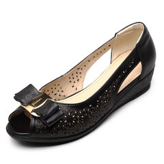 Floral Print Hollow Out Bowknot Metal Leather Soft Breathable Slip On Flat Peep Toe Sandals