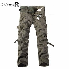 Men's Cargo Pants Multi-pockets Solid Casual Cotton Overalls