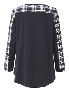 Casual Plaid Patchwork O Neck Long Sleeve Blouse For Women