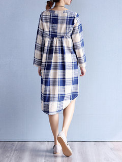 Loose Plaid O-Neck Long Sleeve High Low Shirt Dress For Women
