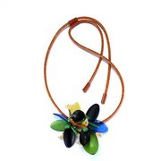 Leather Strap Acrylic Flower Necklace