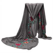 Women National Style Linen Cotton Scraves Flower Embroidery Folk Stole Long Shawl Wrap