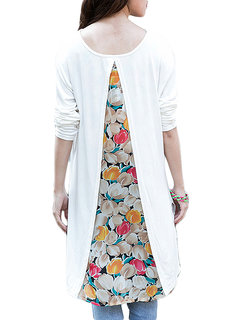 Casual Flower Printed Chiffon Patchwork Long Sleeve Loose T-Shirt