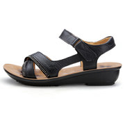 ShenWei Leather Casual Soft Low Heel Sandals