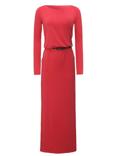 Elegant Pure Color Long Sleeve O-Neck Maxi Dress With Belt For Women