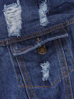 Women Autumn Loose Lapel Collar Ripped Pocket Long Sleeve Denim Jacket