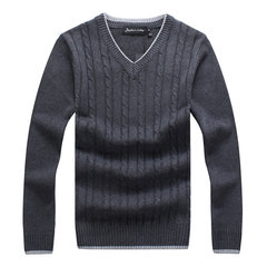 Mens Casual Cotton Solid Color Thick Warm V Necl  Collar Slim Fit Knitted Sweater