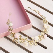 Wedding Bridal Crystal Crown Headband Flower Gold Hair Accessories