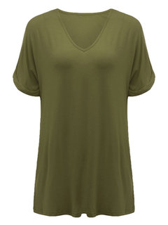 Casual Women Solid V-Neck Short Sleeve T-Shirt