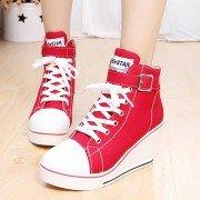Большой размер холста корейский стиль Узелок пряжки клин пятки Повседневная обувь