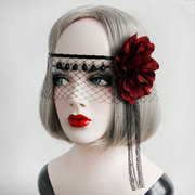 Sexy Mask Black Lace Gauze Crystal Red Flower Ribbon Mask