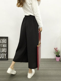 Casual Pure Color High Waist Wide Leg Pants For Women