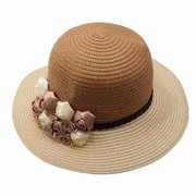 Women Ladies Flower Fedora Derby Caps Wide Brim Summer Beach Straw Hats