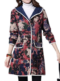 Vintage Flower Printed Long Sleeve Hooded Button Coat For Women