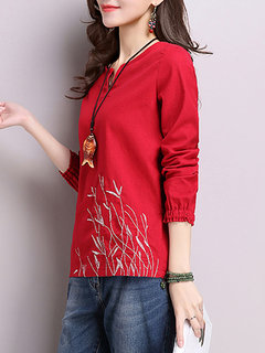 Women Long Sleeve Floral Embroidery V Neck T-shirt