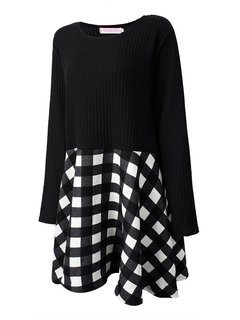 Casual Plaid Patchwork Pleated Long Sleeve O Neck Dress