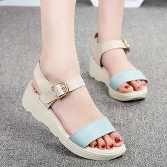 Кожа мягкая Color Match Удобная пряжка Peep Toe плоские сандалии пляжа