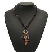 Wings Cross Leather Rope Pendant Necklace
