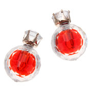 Crystal Double Side Faceted Bead Ball Earrings
