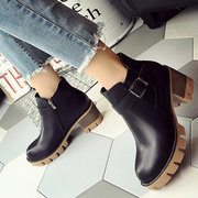 Size Zipper Buckle Chunky Heel European Style Ankle Boots