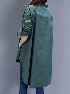 Кнопка Женщины с длинным рукавом Pure Color High Low Long Блуза