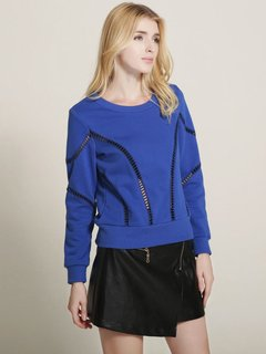 Lztlylzt Women Casual Hollow Pullover O-neck Long Sleeve Hoodie
