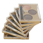 Smokey Eye Shadow Palette Glitter Mineral Gold Metal 3 Colors Eyes Makeup Set With Brush