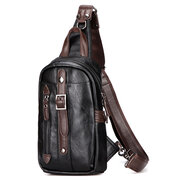 Mens Black Chest Pack PU  Crossbody Bag Sling Bag