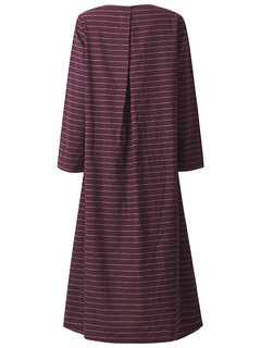 O-Newe Casual Stripe Patchwork O-Neck Long Sleeve Maxi Dress For Women